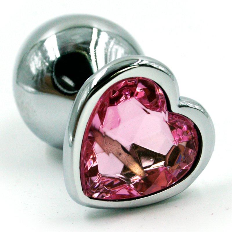 Средняя алюминиевая анальная пробка Kanikule Medium с кристаллом в форме сердца – серебристый со светло-розовым