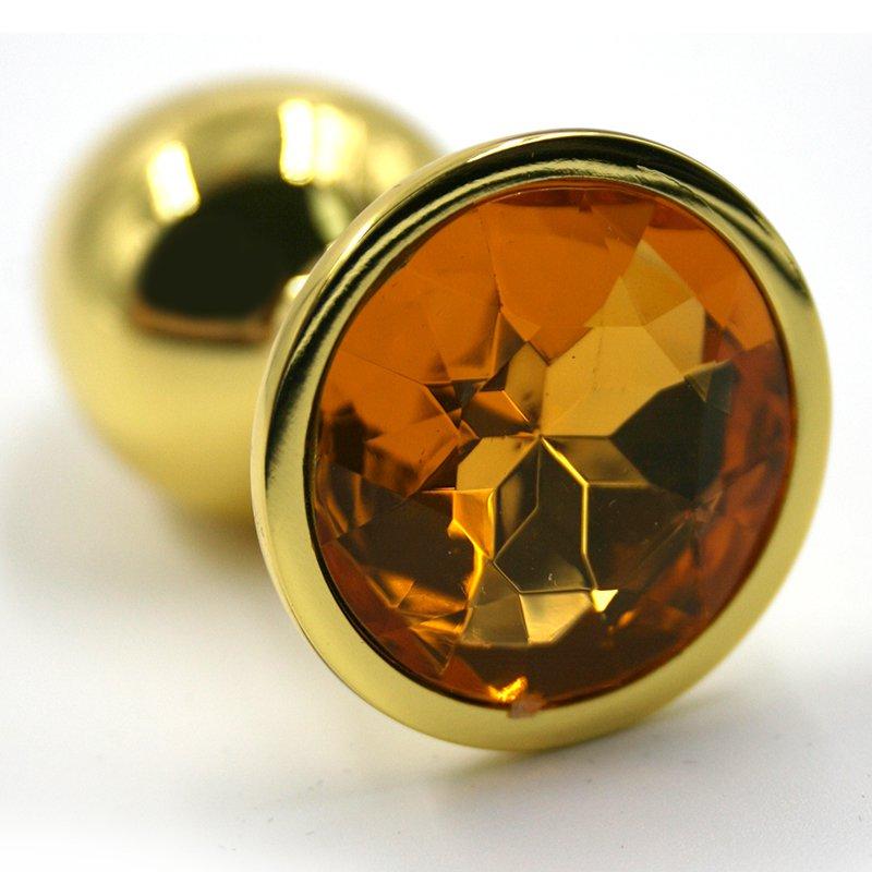 Маленькая алюминиевая анальная пробка Kanikule Small с кристаллом – золотистый с желтым
