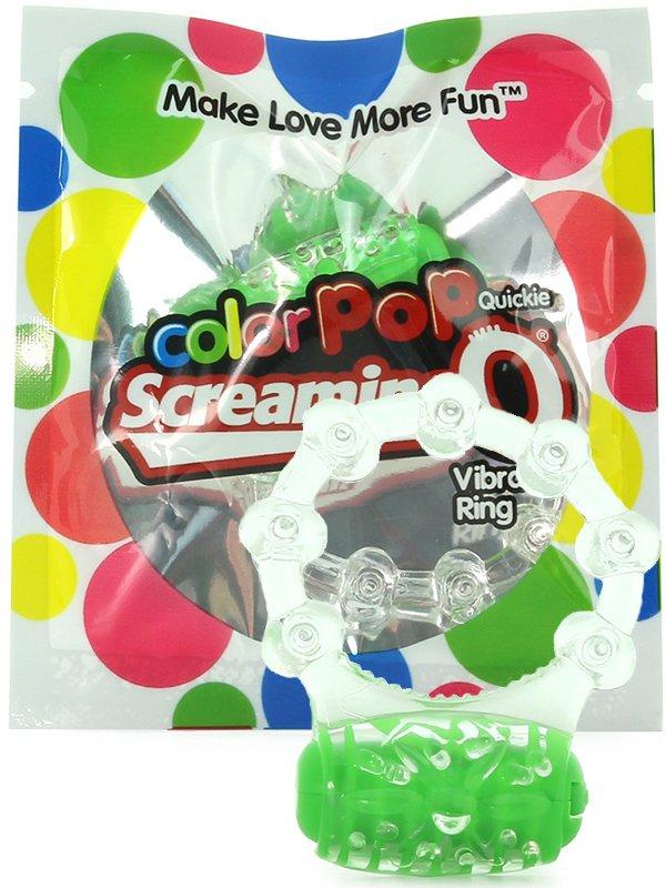Яркое кольцо на пенис ColorPop Quickie Screaming O с вибрацией – зеленый