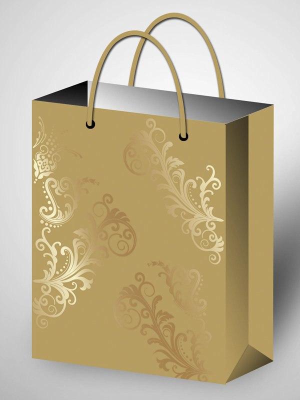 Золотистый подарочный пакет Premium Mix с орнаментом (264*327*136)