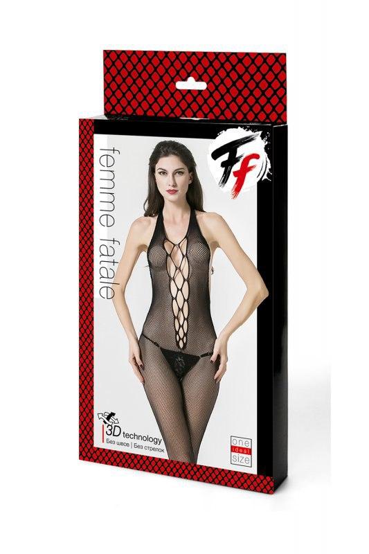 Кетсьюит-сетка с имитацией шнуровки, открытой спинкой и доступом Femme Fatale - черный
