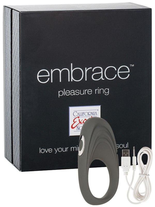 Эрекционное кольцо Embrace Pleasure Ring перезаряжаемое  серое