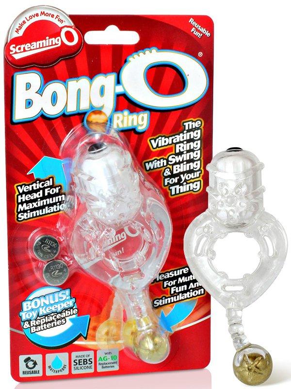 Виброкольцо Screaming O - Bong O с золотистым шариком – прозрачный (The Screaming O, США)