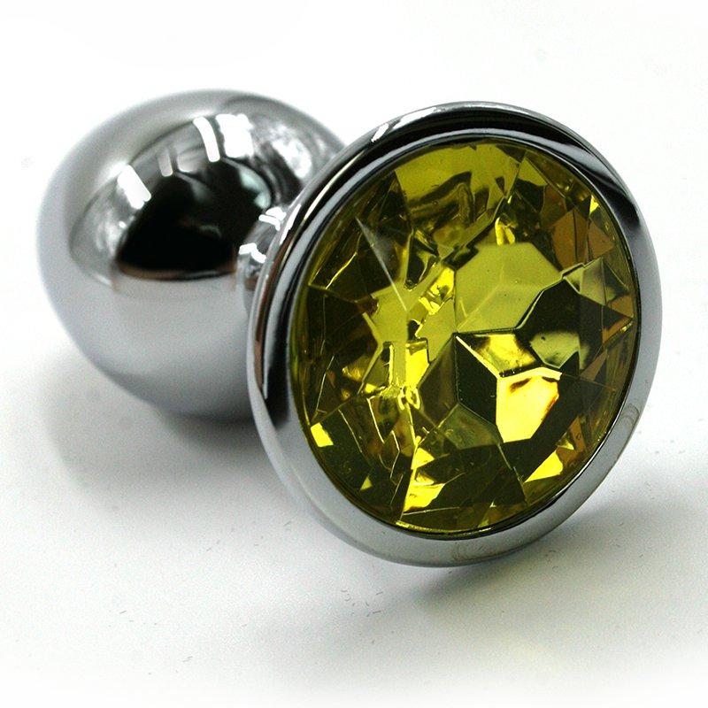 Средняя алюминиевая анальная пробка Kanikule Medium с кристаллом – серебристый с желтым