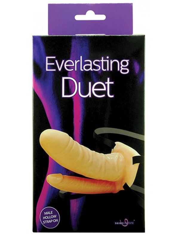 Полый страпон Everlasting Duet с анальным стимулятором – телесный