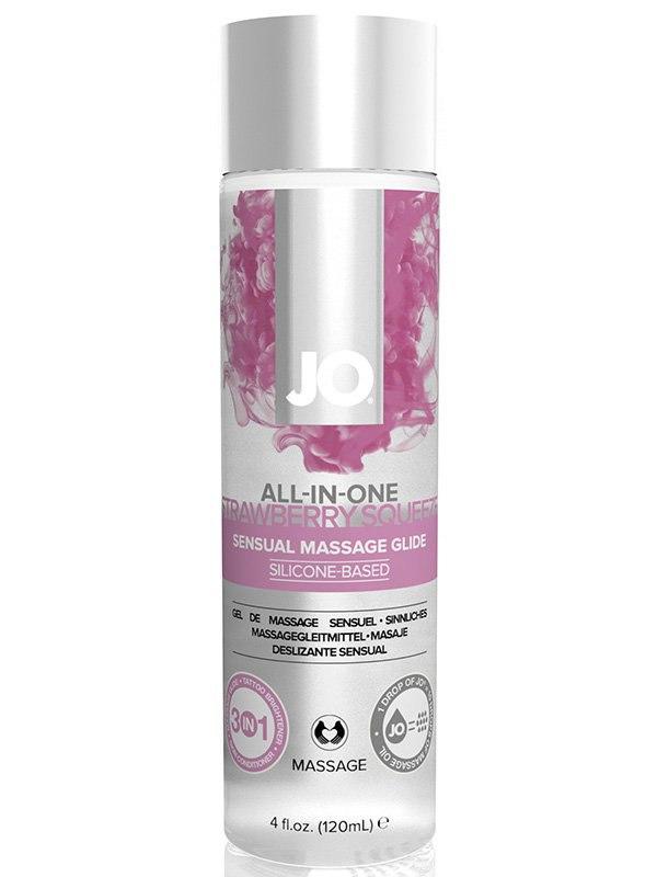 Массажное масло на силиконовой основе All-In-One Strawberry аромат клубники – 120 мл