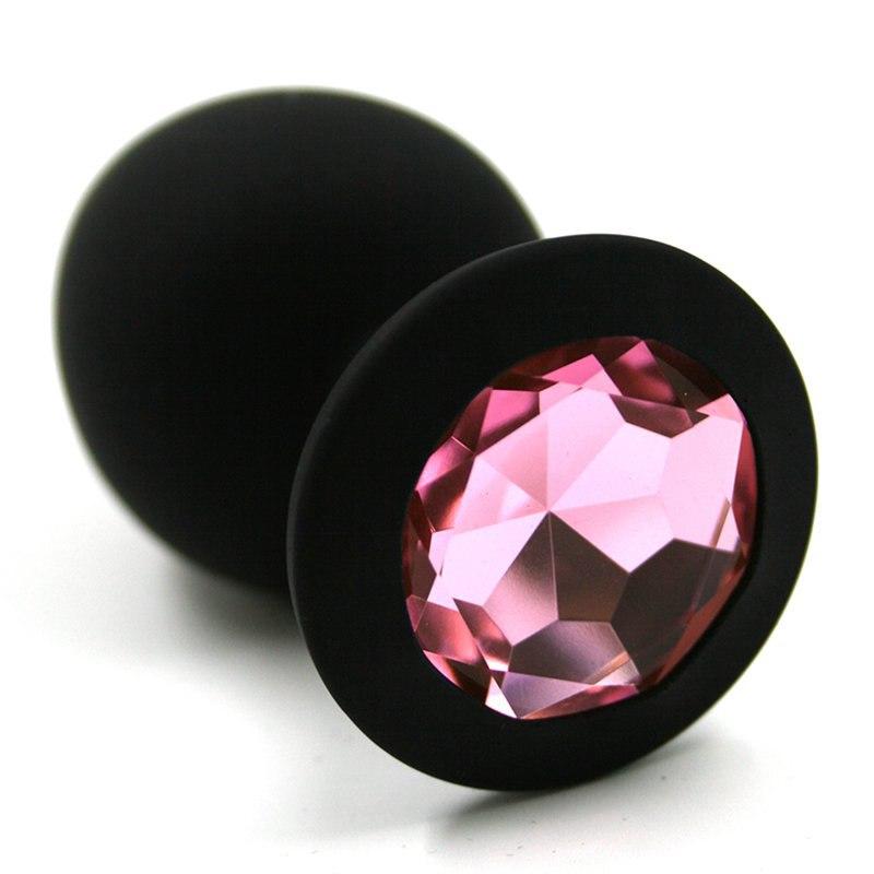 Средняя силиконовая анальная пробка Kanikule Medium с кристаллом – черный со светло розовым