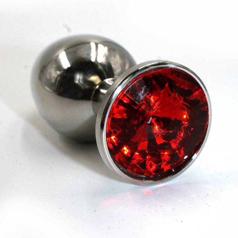 Большая алюминиевая анальная пробка Kanikule Large с кристаллом – серебристый с красным