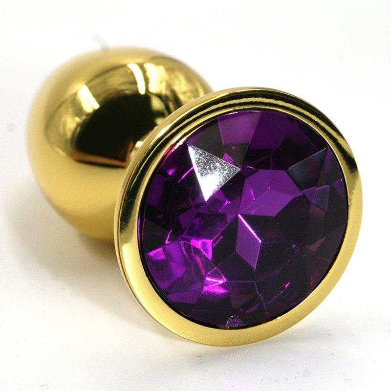 Средняя алюминиевая анальная пробка Kanikule Medium с кристаллом – золотистый с фиолетовым