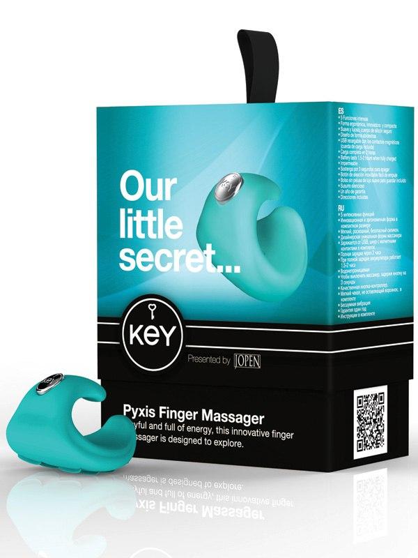 Водонепроницаемый вибромассажер на палец Pyxis - Blue от Он и Она