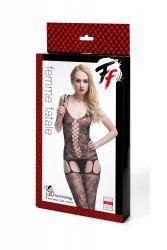 Кетсьюит-сетка  со имитацией корсетной шнуровки равным образом подвязок Femme Fatale - черный