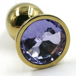 Маленькая алюминиевая анальная пробка Kanikule Small с кристаллом – серебристый с изумрудным