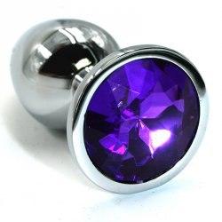 Маленькая алюминиевая анальная закупорка Kanikule Small вместе с кристаллом – белый из фиолетовым