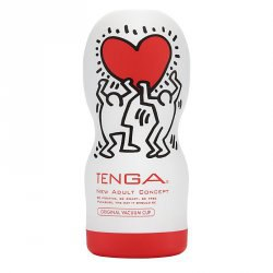 Мастурбатор Tenga&Keith Haring Deep Throat - красный с белым